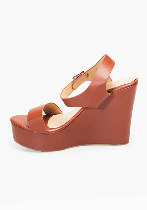 Basic Tan Wedge Sandals