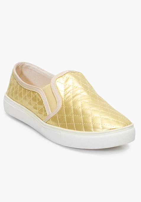 Gold Quilted Skater Shoes