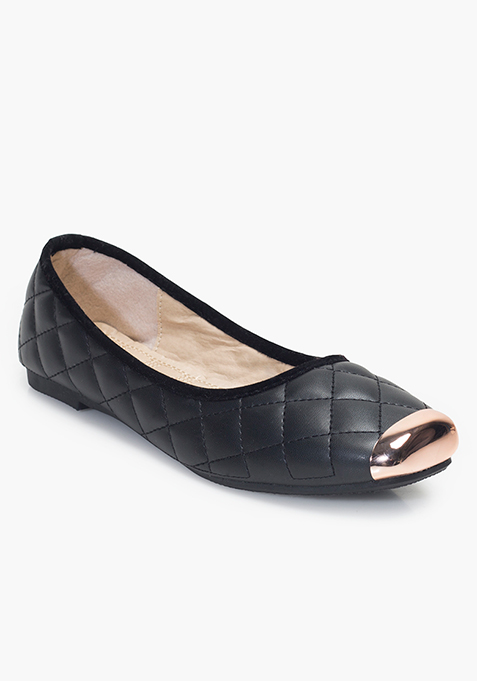 Metal-Toe Quilted Ballerinas - Black