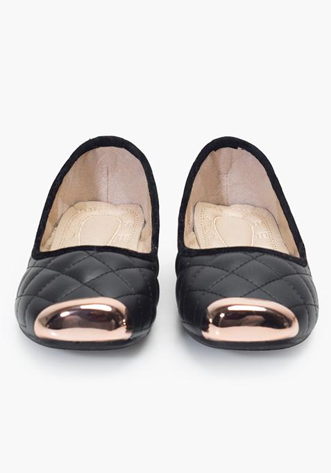 Metal-Toe Quilted Ballerinas - Black