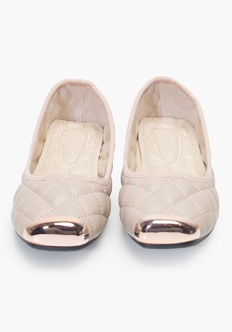 Metal-Toe Quilted Ballerinas - Beige