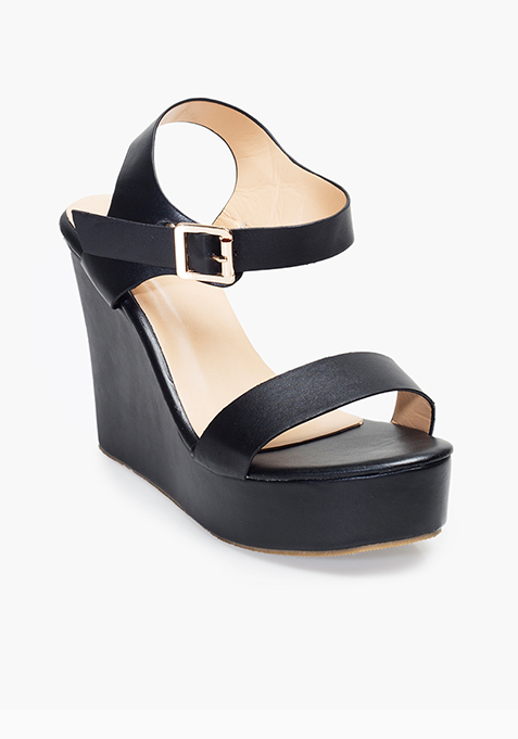 Basic Black Wedge Sandals