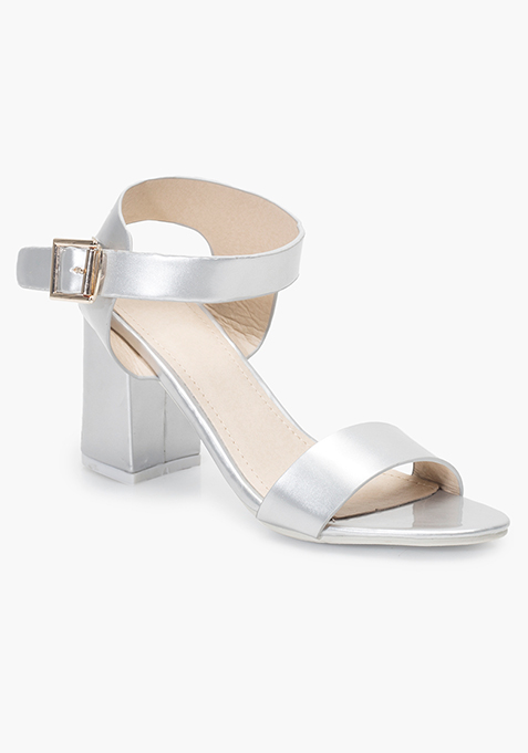Block Heeled Sandals - Silver