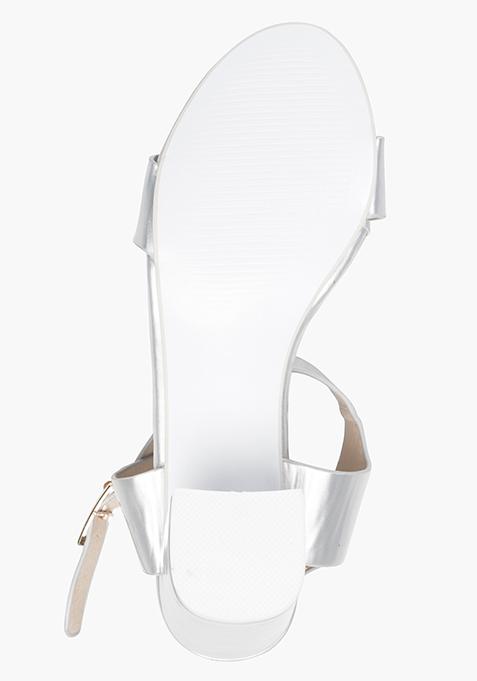 Block Heeled Sandals - Silver