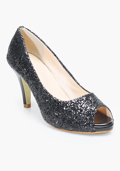 Glitter Glamour Peep-Toes - Black