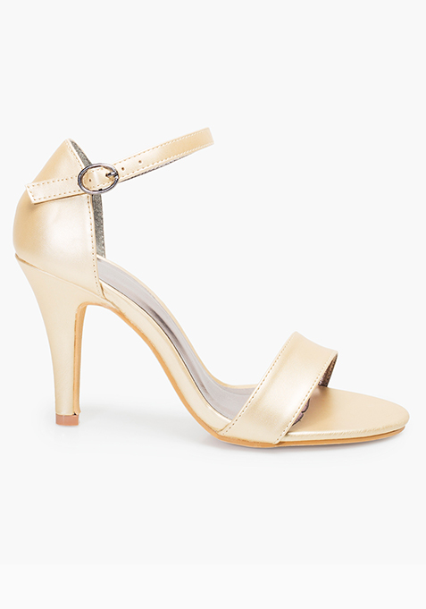 Barely There Heeled Sandals - Gold
