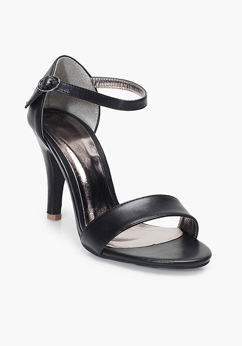 Barely There Heeled Sandals - Black