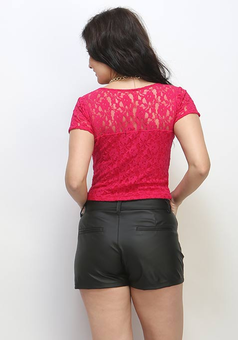 Groovy Girl Leather Shorts - Black
