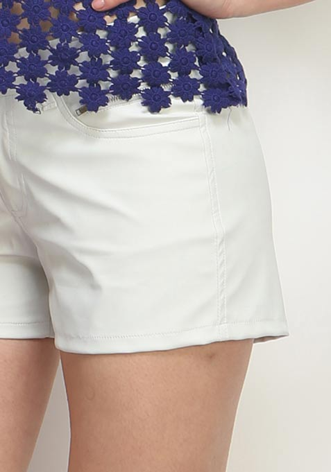 Groovy Girl Leather Shorts - White