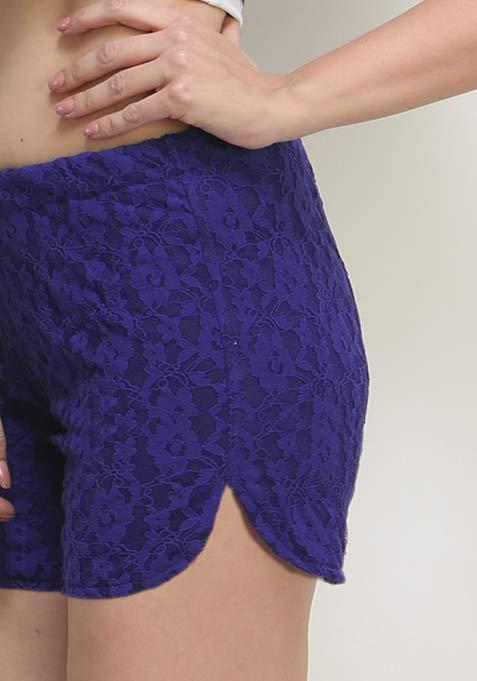 Cute Call Lace Shorts - Cobalt