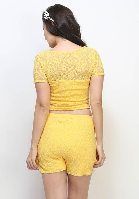Cute Call Lace Shorts - Yellow