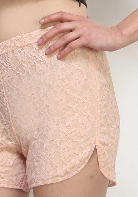 Cute Call Lace Shorts - Blush