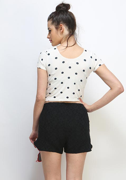 Cute Call Lace Shorts - Black