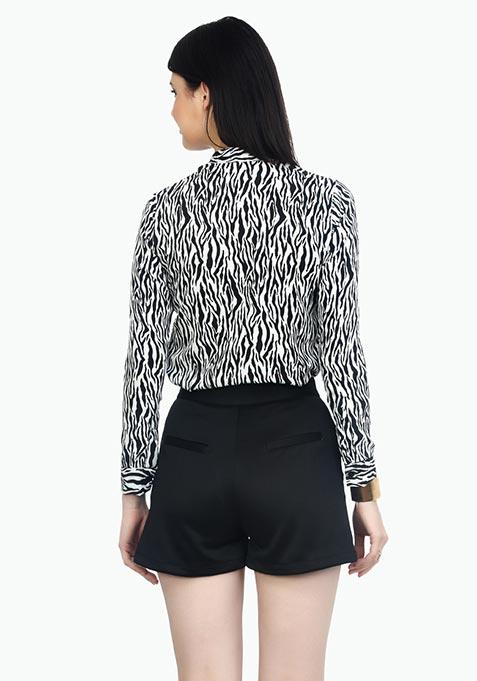 High Rise Scuba Shorts - Black