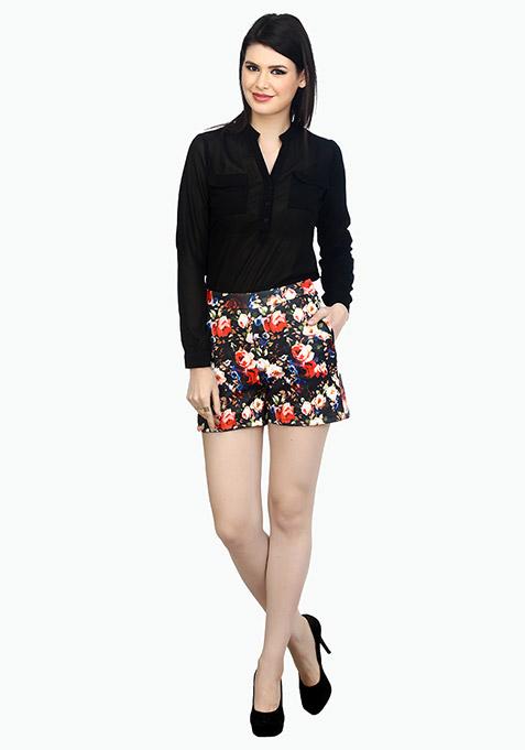 High Rise Scuba Shorts - Night Floral