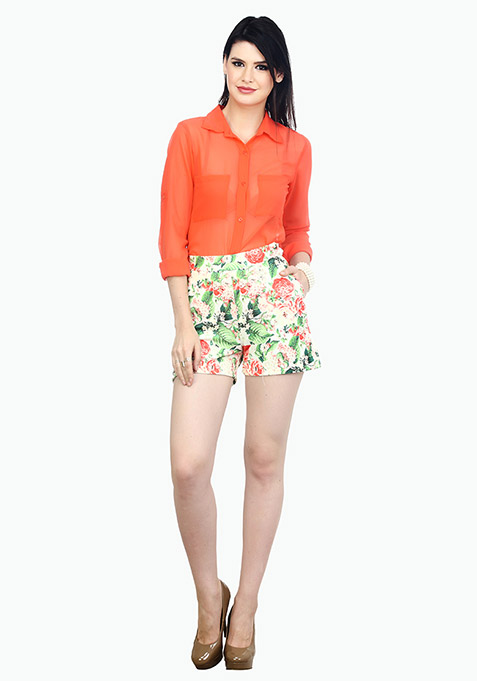 High Rise Scuba Shorts - Day Floral