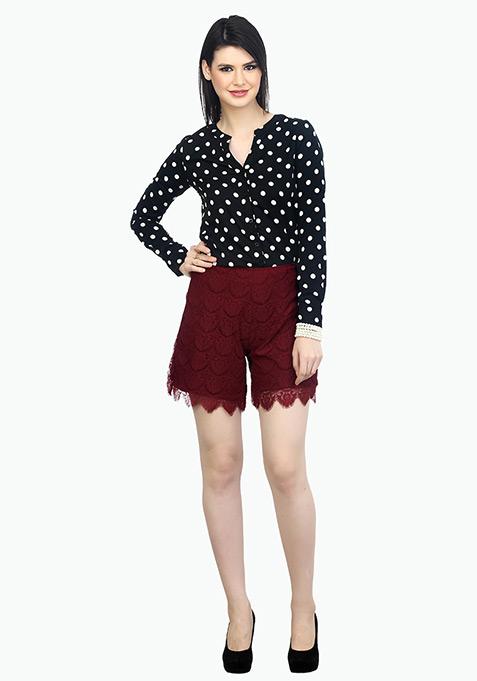 Sweet Girl Lace Shorts - Marsala