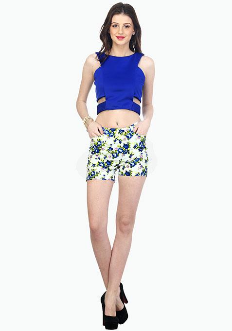 Rockabilly Shorts - Blue Floral