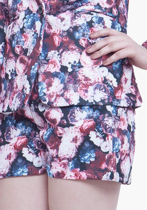 High Rise Scuba Shorts - Fall Floral