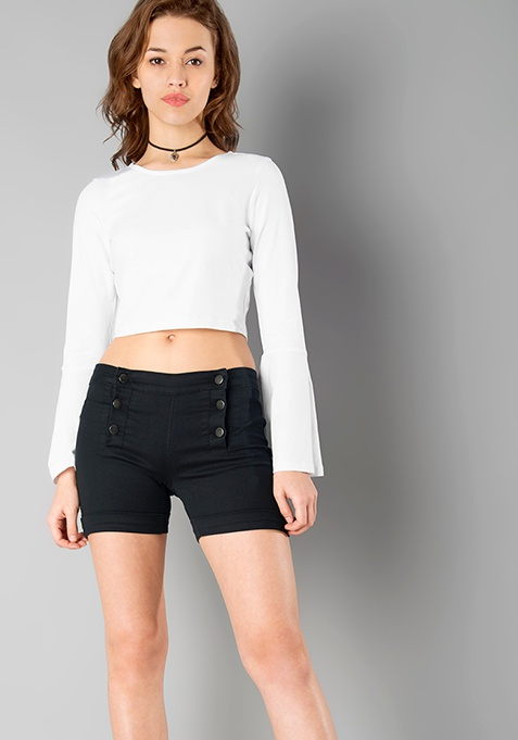 High Waist Denim Shorts - Black