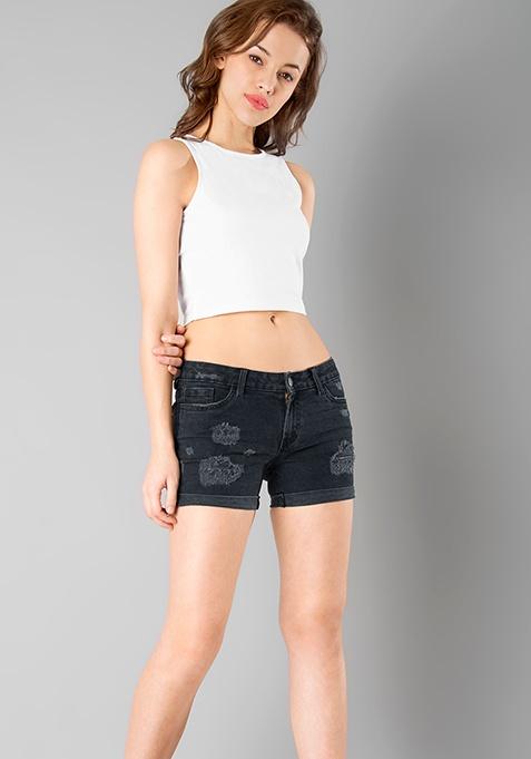 Ripped Denim Shorts - Dark Grey