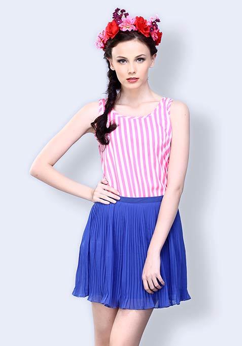Full Swing Pleated Skirt - Cobalt