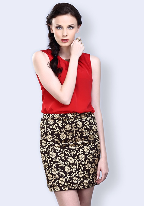 Baroque Blaze Mini Skirt