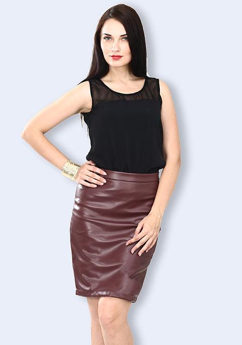 Shape Up Sharp Skirt - Oxblood