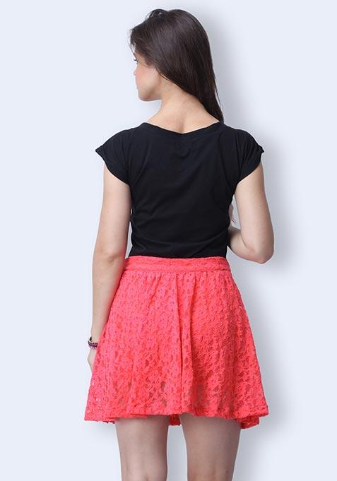 Coral Craze Skater Skirt