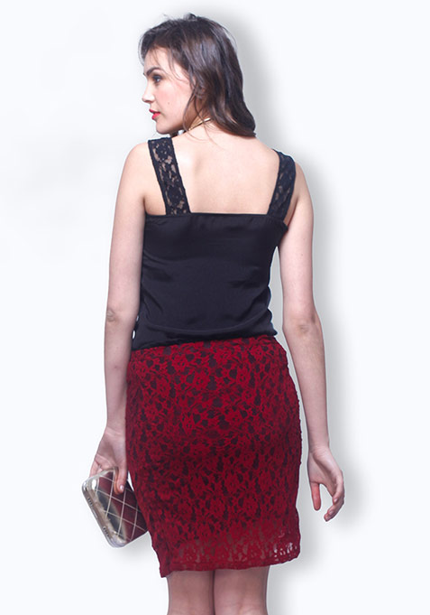 Wine Lace Pencil Skirt