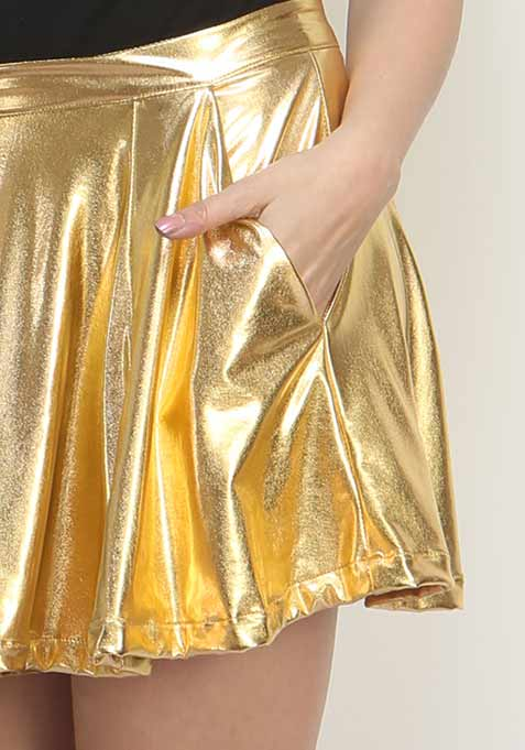 Golden Gush Skater Skirt