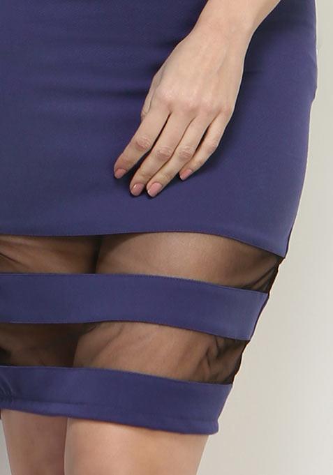 Sheer Hints Pencil Skirt - Navy