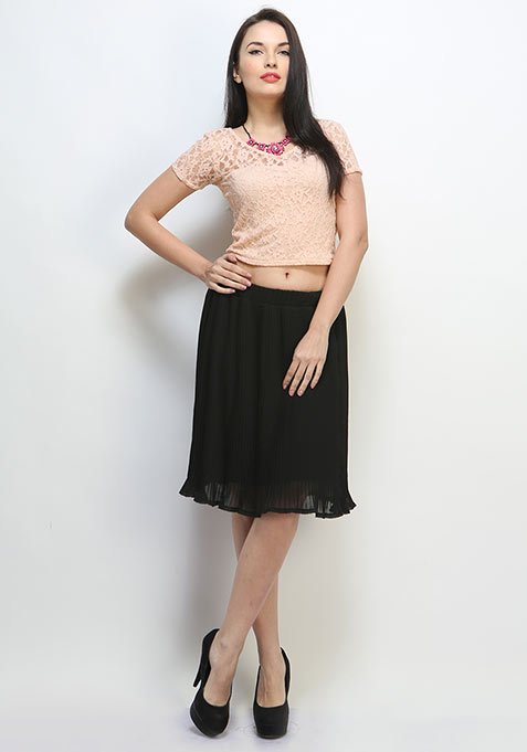 Pleat Treat Midi Skirt - Black