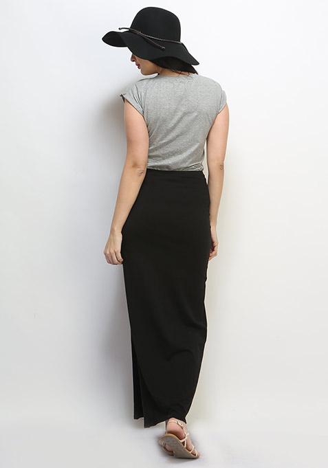 Free Flare Maxi Skirt - Black