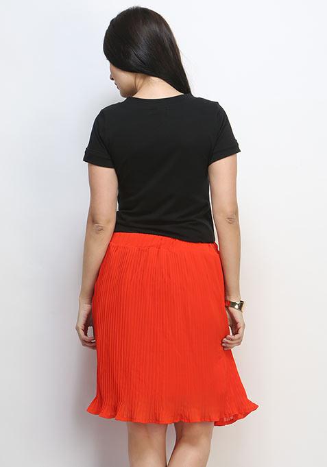 Pleat Treat Midi Skirt - Orange