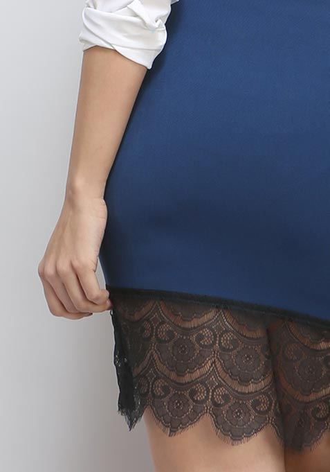 Lace Mirage Pencil Skirt - Navy