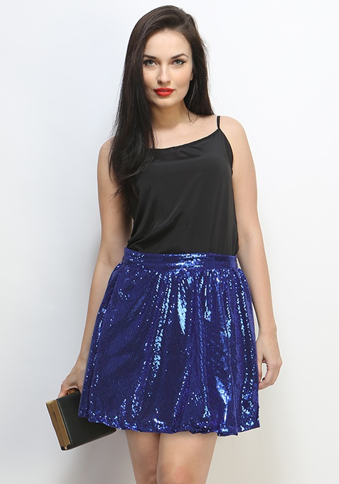 After Glow Sequin Skirt - Azure