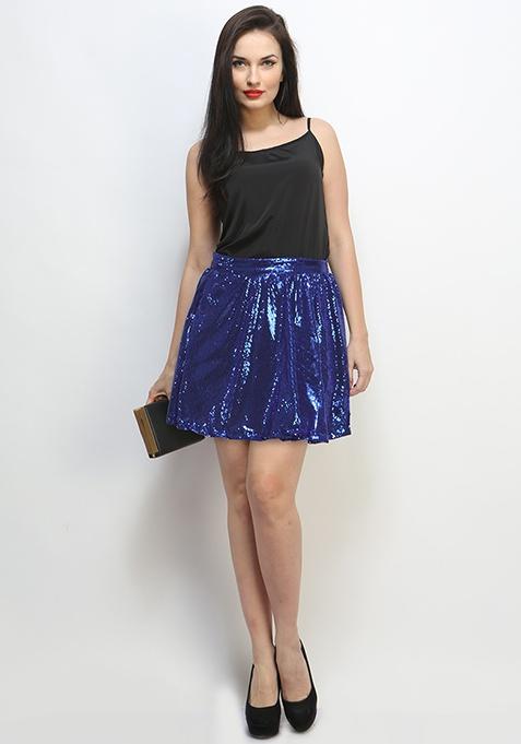 After Glow Sequin Skirt - Azure