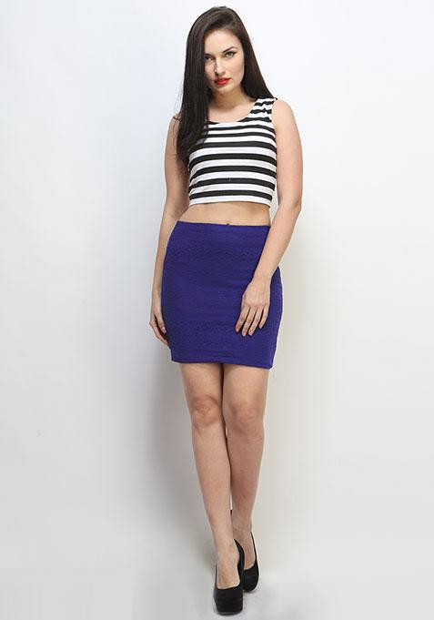 Lace Craze Skirt - Cobalt