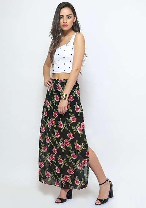 Rose Tint Slit Maxi Skirt