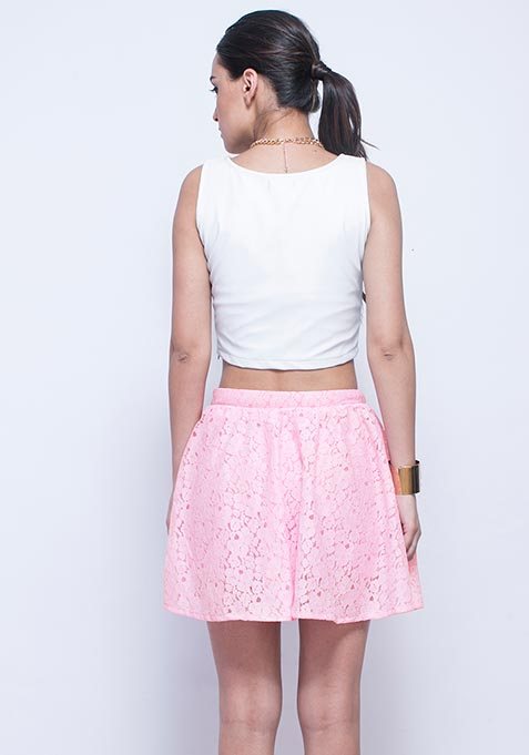 Think Pink Lace Skater Skirt