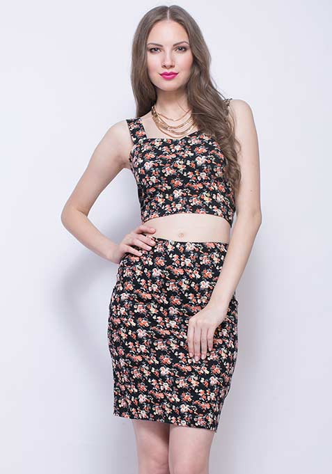 Fierce Floral Pencil Skirt