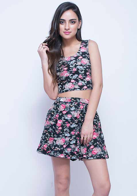 Swirl Around Skater Skirt - Floral