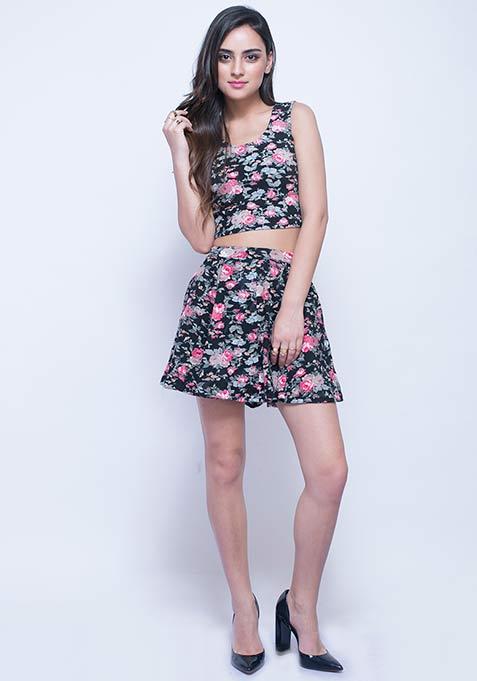 Swirl Around Skater Skirt - Floral