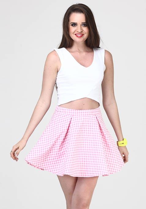 Gingham Life Skater Skirt - Pink