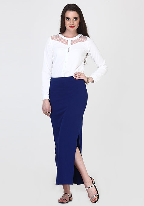 Free Flare Maxi Skirt - Blue