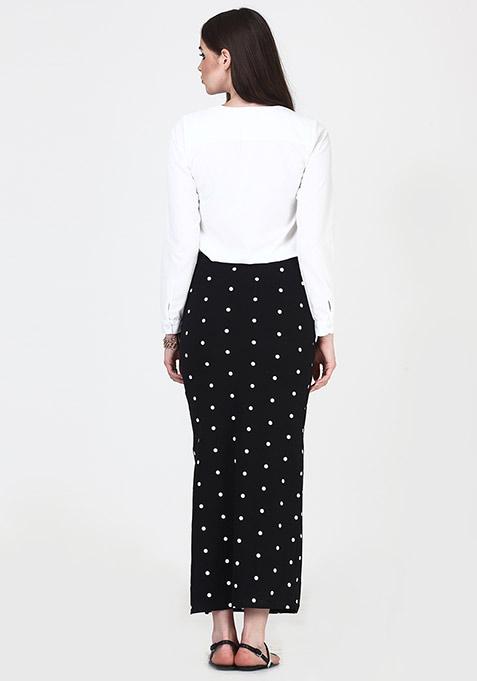 Side Cut Maxi Skirt - Polka