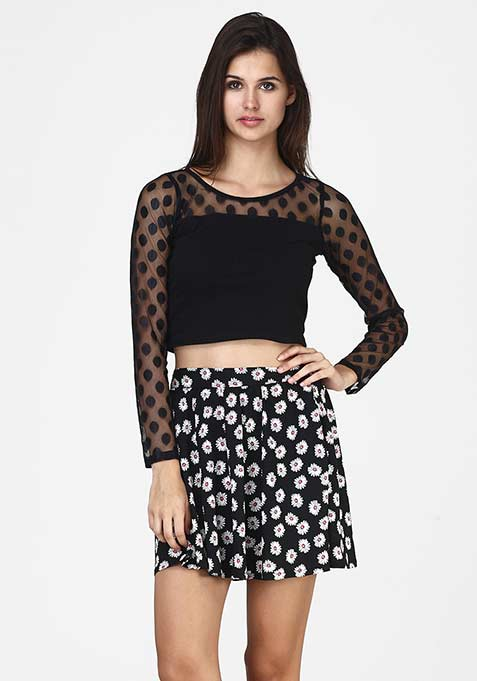 Daisy Struck Skater Skirt
