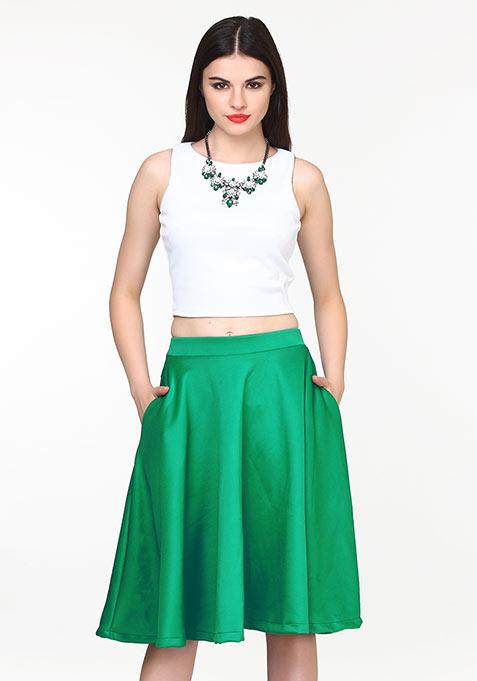 Fem Flare Scuba Midi Skirt - Green