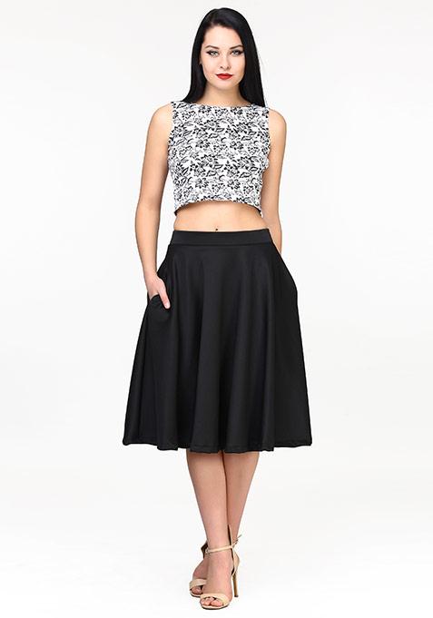 Fem Flare Scuba Midi Skirt - Black